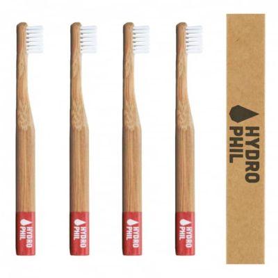 Die Bambus-Zahnbürste für Kinder in rot im 4er Set